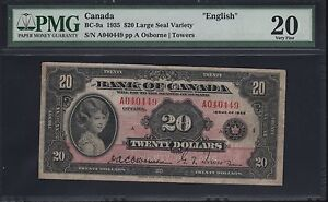 "CANADA BC-9a $20.00 1935 LARGE SEAL ""ENGLISH"" OSBORNE / TOWERS PMG 20 VF WL6276"