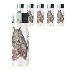 Butane Refillable Electronic Gas Lighter Set of 5 Skull Design-021 Owl