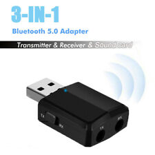 3in1 USB Bluetooth Dongle 5.0 AUX Audio Transmitter/Receiver Adapter TV/Car/PC
