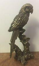More details for bronze colour large parrot statue bnib by leonardo parrot ornament figurine