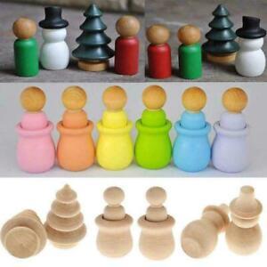 10/20x Wood Peg Dolls Wooden Peg People Nesting Set Kid DIY Montessori Toy Craft