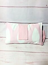 Modern Cotton Nappy Clutch wallet in pink, white leaves