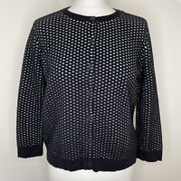 COS Open Knit Cardigan Size M Black Duck Egg 3/4 Sleeves