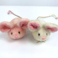 Vtg 80s Dakin Pink White Mouse Mice Plush Mini Small Stuffed Animal Toy Lot
