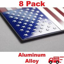 "(8 Pack) Aluminum US American Flag Sticker Decal | Auto Car Emblem 3.15""x1.75"""