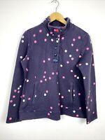 Joules Top UK 14 Pop Over Jumper Purple Spotty Polka Dot PEACHY Pockets