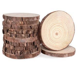 12 Holzscheiben Untersetzer Natur mit Rinde 12-13cmØ Dekoration Hochzeit Basteln