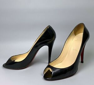 CHRISTIAN LOUBOUTIN Flo Black Patent Leather Pump Heels Size 39 Women's Open Toe