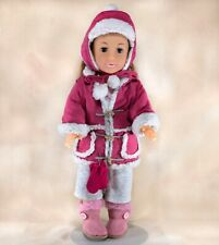 """Uneeda 18"""" Girl Doll With New Winter Wear Outfit Brown Hair Blue Eyes"""