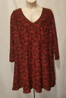 New Jessica Simpson Women's Plus Size 2X Dress Red Black Long Sleeve Dress