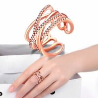 Jewelry Rose Gold Multi Layer Crystal Adjustable New Plated Weave Rings
