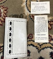Antique Vintage Prince Gardner Navy / White Soft Leather Key Case With Snap