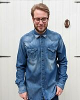 Replay XL Blue Washed Denim Shirt Men's Pearl Snap Cowboy Distressed Jean