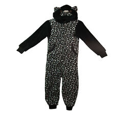 Girls All in One NEW Hooded Animal Fleece Pyjamas Leopard Print Ages 13 Years