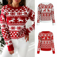 Women Autumn Knitted Jumpers Christmas Sweaters Printed Pullover O-Neck Elk