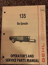 Gehl 135 Box Spreaders Operators And Service Parts Manual 904250