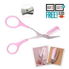 Eyebrow Eyelash Hair Scissors Comb Trimmer Pink Stainless Steel Tool UK SELLER
