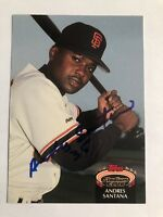 1992 Topps Stadium Club Andres Santana #491 Auto Signed Autograph Giants