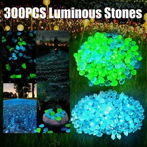 300PCS Glow in The Dark Pebbles Garden Glowing Rocks Fish Tank Luminous Stones