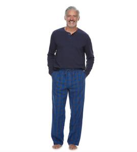 Croft & Barrow Men's Henley Plaid Flannel Pajama Sleep Pants Set - Medium
