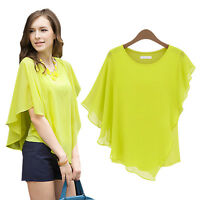Women Ladies Flounce Flouncy Chiffon Blouse Tops Top Bat Wing Ruffle Shirt