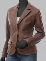 Womens brown leather blazer jacket coat Hand Stitched soft lamb skin leather