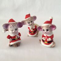 Vintage Christmas Mice Mouse with Santa Suit Ceramic Figurines Set of 3 Taiwan