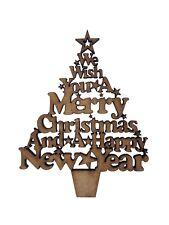 2x Merry Christmas Tree 7cm Wood Craft Embelishments Laser Cut Shape MDF