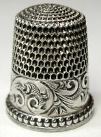 "Antique Simons Bros. Sterling Silver Thimble  ""Chased Running Scrolls""  C1890s"