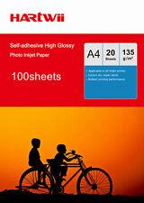 100 Sheet A4 Self Adhesive 135gsm Sticky Glossy Inkjet Printer Photo Paper