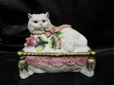 Fitz & Floyd - Cat On Pillow - Dresser Jar / Trinket Box - Unusual