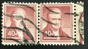 US SCOTT#1050P1a  40C STAMP JOHN MARSHALL PAIR  (Collectible Stamp)  Wove paper