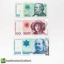 NORWAY: Set of 3 Norwegian Krone Banknotes.