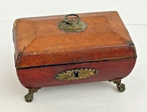 Best Antique Leather Covered Sewing Box with Silver Thimble, estate find