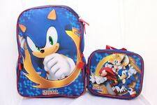 Sonic The Hedgehog Boys School Backpack Book Bag Lunch Box SET knuckles Tails