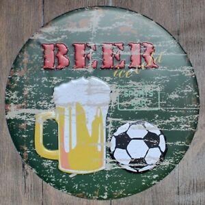 Metal Tin Sign round beer football decor Bar Pub Retro Poster 30cm diameter