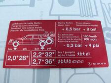 """Mercedes Sticker """"Tire Pressure"""" Tank Hatch W123 Station Wagon Vintage! NEW!"""