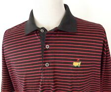 Hugo Boss Golf XL Polo Shirt Masters Logo Striped Black Red Made in Italy