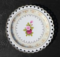"Handcrafted Porcelain 10.5"" Display or Dinner Plate Pink Roses with Gold Trim"
