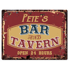 PPBT0365 PETE'S BAR and TAVERN Rustic Tin Chic Sign Home Store Decor Gift