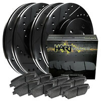 [FRONT+REAR KIT] Black Hart *DRILLED & SLOTTED* Brake Rotors +Ceramic Pads C1883