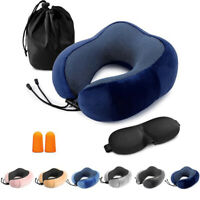 Memory Foam Travel Pillow Head Neck Support Cushion With Sleep Mask Earplugs Set