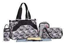 SoHo Black & Charcoal Paisley 8 in 1 Diaper bag Set Black & Charcoal Paisley