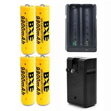 4pcs 18650 3.7V 9800mAh Rechargeable Li-ion Battery cell + 1pcs 18650 Charger