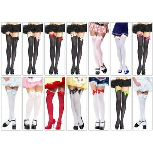 Thigh High Stockings with Satin Bows Adult Womens Sexy Hosiery