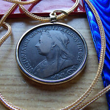 "pre 1901 English Rare Queen Victoria Penny Pendant 28"" Gold Fill Foxtail Chain"
