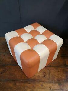 Vintage Retro 1970's Mid Century Orange/ Cream Checkerboard Pouffe Foot Stool