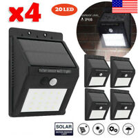 4x 20LED Solar Powered PIR Motion Sensor Light Outdoor Garden Security Wall Lamp