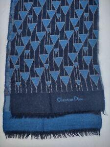 Auth Christian Dior Blue Wool Neckscarf UNISEX Spellout