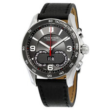Victorinox Swiss Army Chrono Classic Dark Grey Dial Black Leather Mens Watch